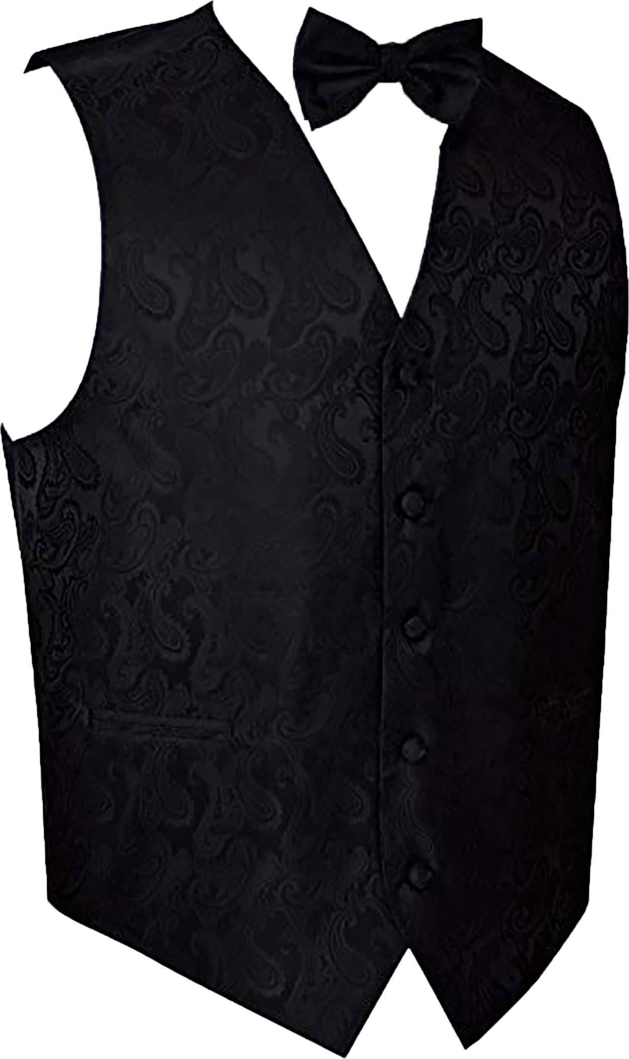 Men's Paisley Vest Bow-Tie Set-Black M by Brand Q