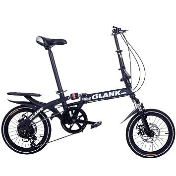 "JIE LANG KE Bicicleta Plegable de 16"", Freno Disco de Velocidad Variable Mini Bicicleta"
