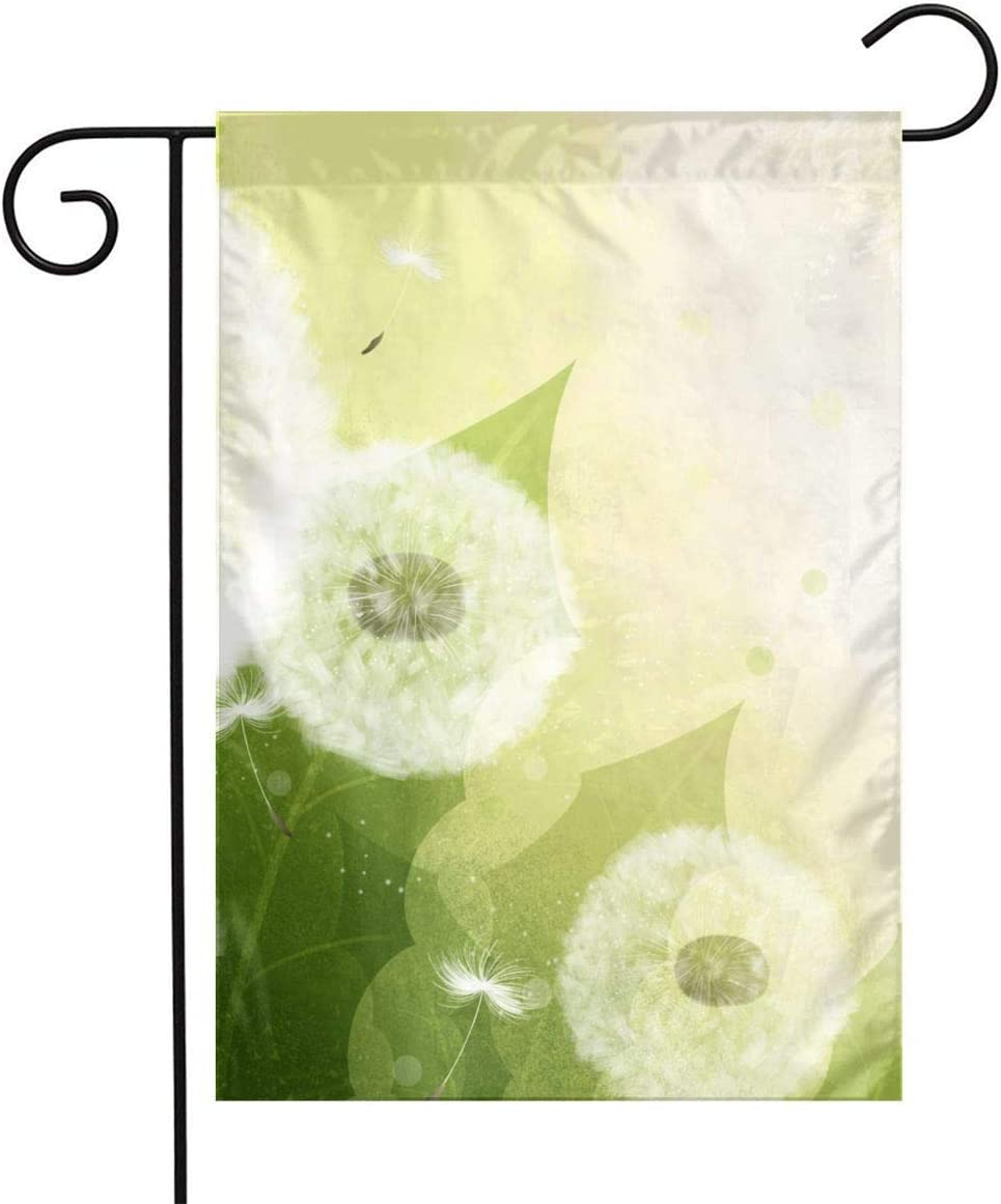 Pooizsdzzz Fresh Green Dandelion Festival Garden Flag Front Door Flag Decorative Home Outdoor Flag 1218 Inch