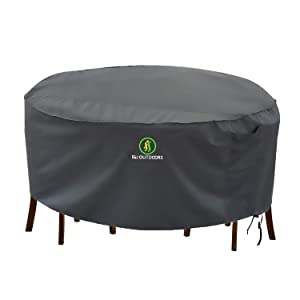 Outdoor Patio Furniture Covers, Waterproof UV Resistant Anti-Fading Cover for Large Round Table Chairs Set, Grey, 96 inch Diameter
