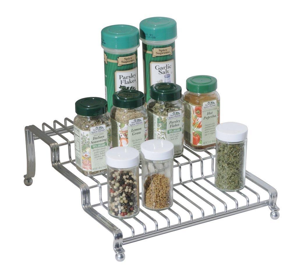 mDesign Portaspezie per armadio della cucina e tavolo - Scaffale spezie e organizer cucina su 3 ripiani per sale, pepe, curry e molto altro - Metallo - Colore: argento MetroDecor 1219MDK