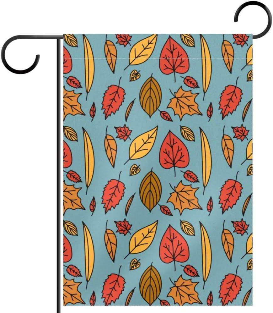 TIKISMILE - Fondo decorativo de doble cara para jardín, 12 x 18 pulgadas, diseño de hojas de otoño