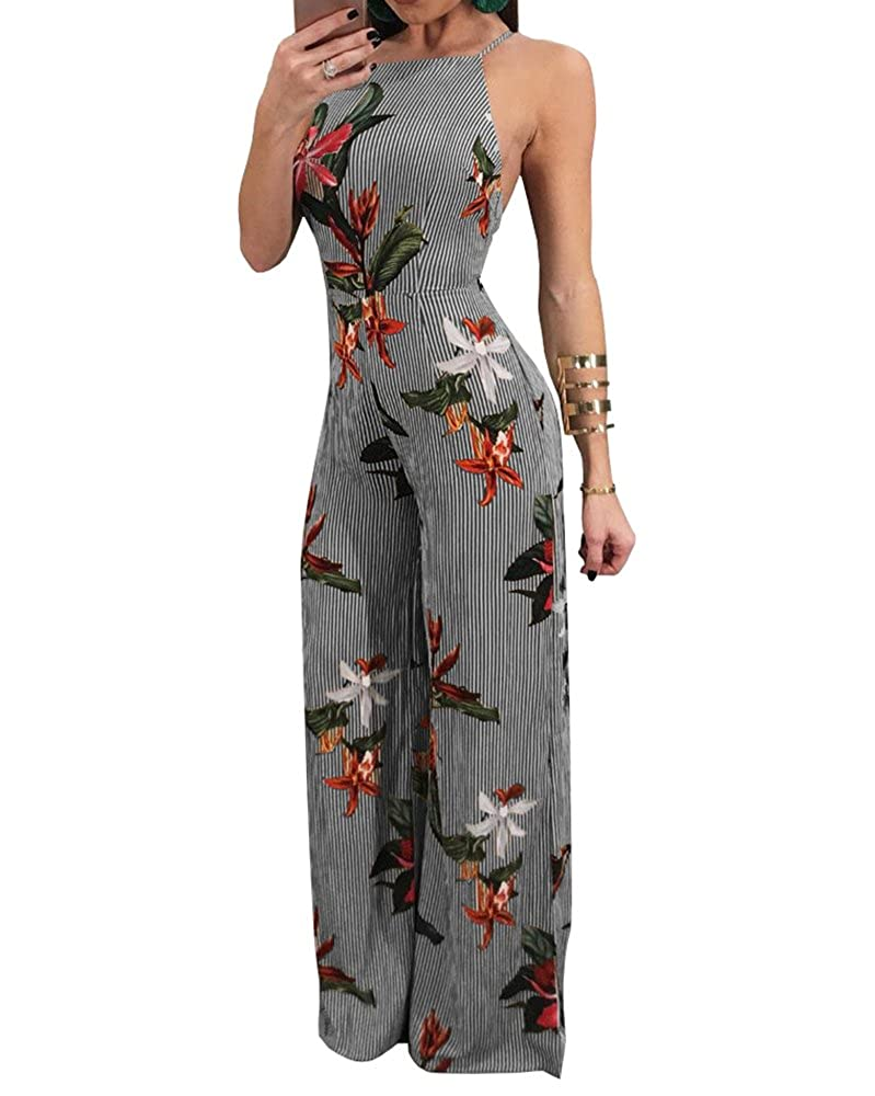 97321b7f354 Recommend to choose ONE LARGER SIZE when ordering!Casual long jumpsuits and  rompers v neck strappy flower printed tie waist broad legged pant .