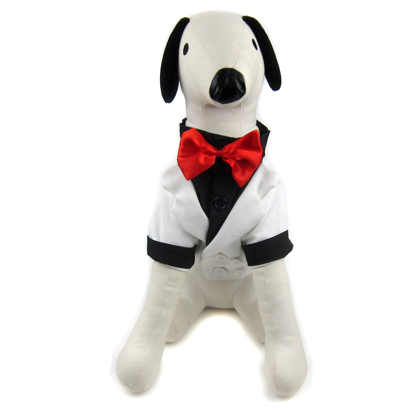 Alfie Pet by Petoga Couture - William Formal Tuxedo with Black Bow Tie - Color: White, Size: Small