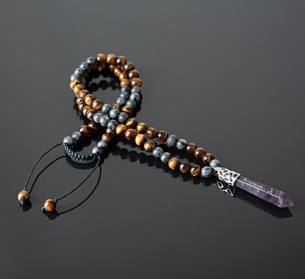 Amethyst Healing Point Pendant February Birthstone Shamballa Long Crystal Jewelry Men/'s Necklace