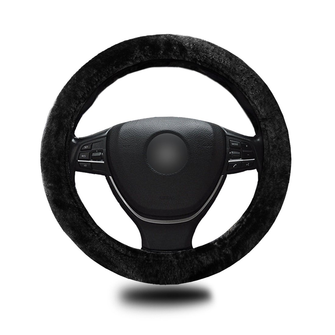 Zento Deals Faux Sheepskin Stretch-On Vehicle Steering Wheel Cover Classic Black Car Wheel Protector WC7