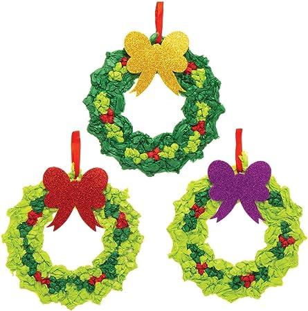 Baker Ross AT306 Weihnachtskranz Sandbilder Dekoration Bastelset 6 St/ück Basteln Kinder zu Weihnachten Sortiert