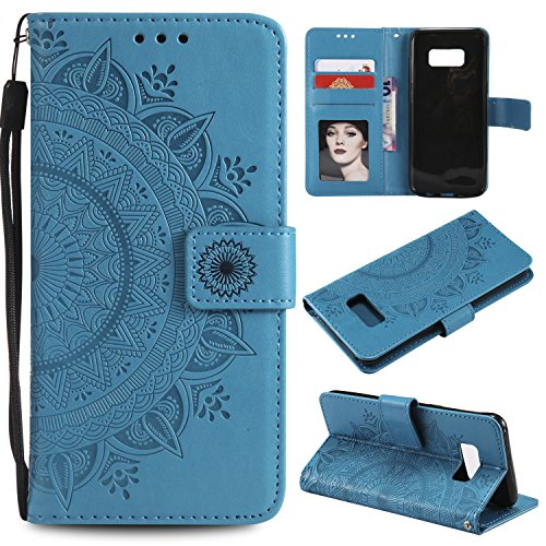 Galaxy Note 8 Floral Wallet Case,Galaxy Note 8 Strap Flip Case,Leecase Embossed Totem Flower Design Pu Leather Bookstyle Stand Flip Case for Samsung Galaxy Note 8-Blue by Leecase