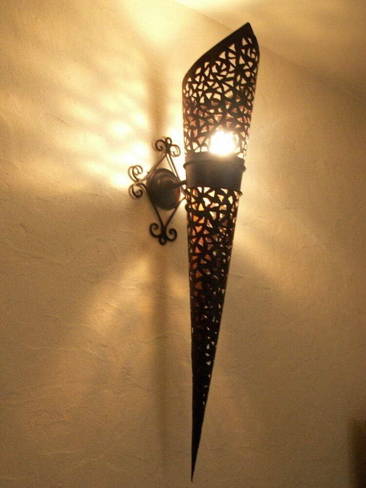Aplique de Pared Antorcha Hierro Forjado Marroquí 80cm Lámpara Farol Lámpara Lámpara