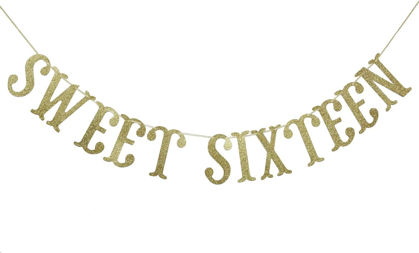 Sweet Sixteen Birthday Banner Gold Glitter for 16th Birthday Party Decor 16 years old Decoration Supplies Cursive Bunting Photo Booth Props Sign
