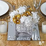 Tableclothsfactory 8'' Square Glass Mirror Wedding Party Table Decorations Centerpieces - 6 PCS