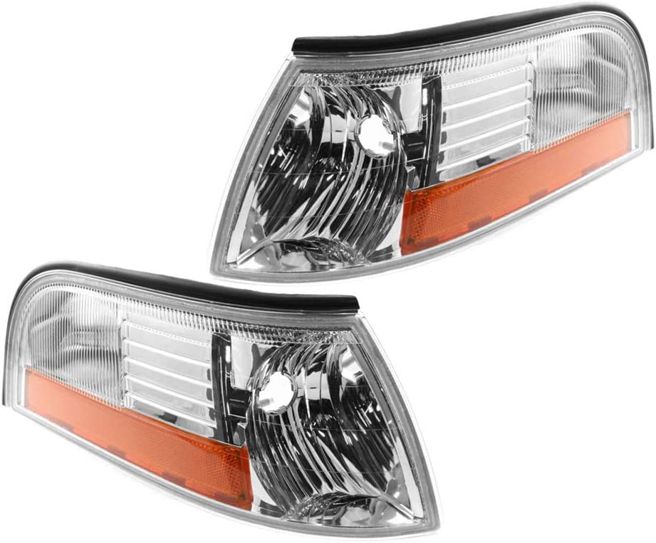 Left /& Right Sides Pair Epic Lighting OE Style Replacement Park Side Marker Signal Lights Assemblies Compatible with 2003-2005 Mercury Grand Marquis FO2520171 FO2521171 3W3Z13201AA 3W3Z13200AA