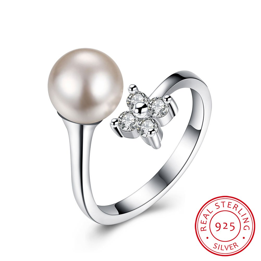 IVYRISE Pretty Diamonds Flower Luxury Pearl Resizable Wedding Anniversary Band 925 Sterling Silver Adjustable Open Ring