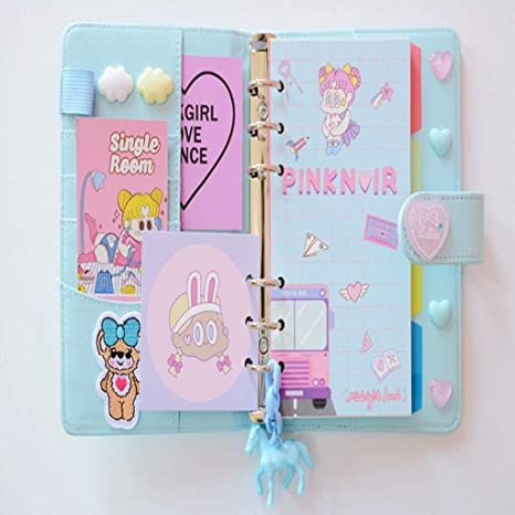Amazon.com: Mini cuaderno Kawaii A6 cuaderno de piel de ...