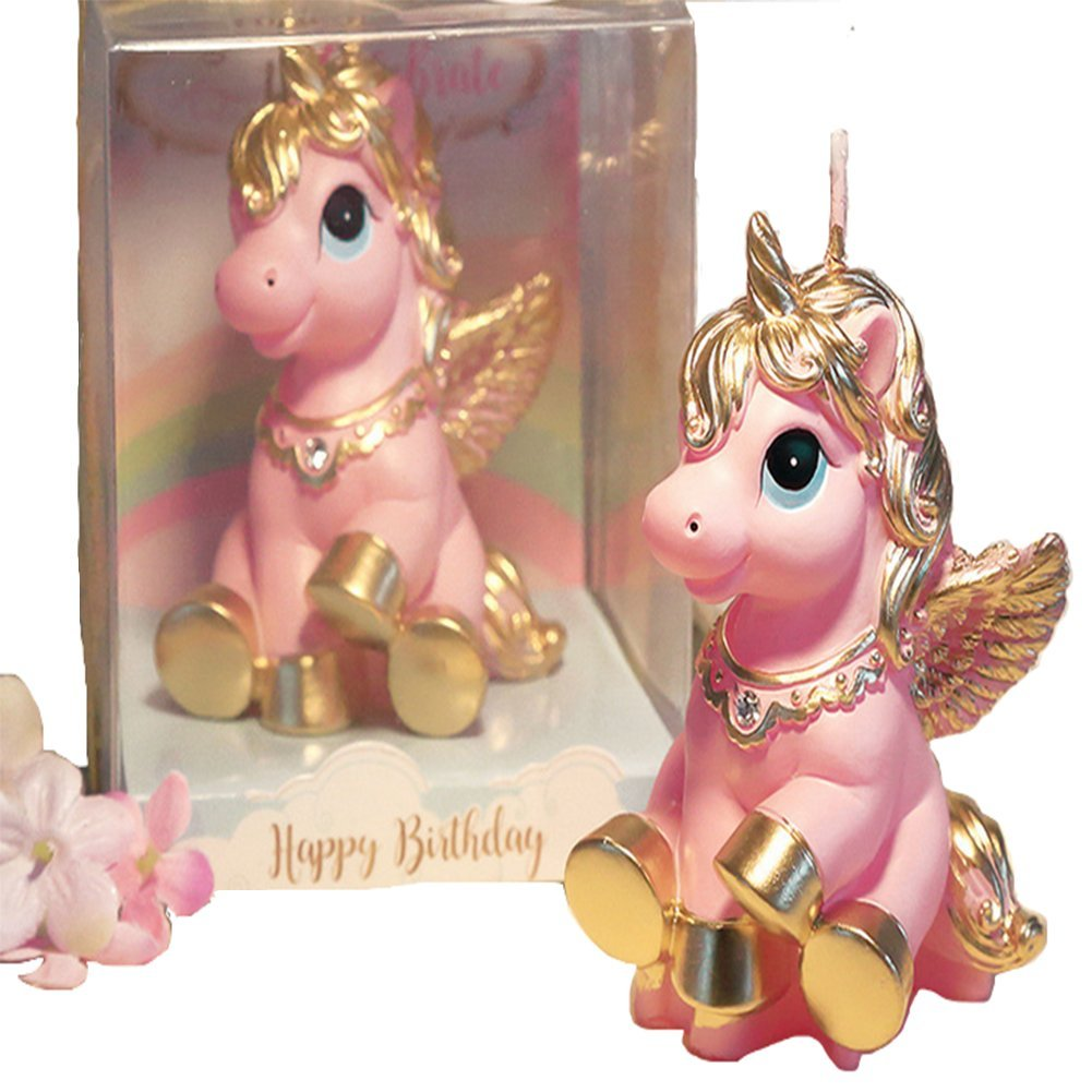 ANONE Unicorn Girl Birthday Candles Kids Girls Cute Cartoon Animals Birthday Candles3.25-Inch (Pink)
