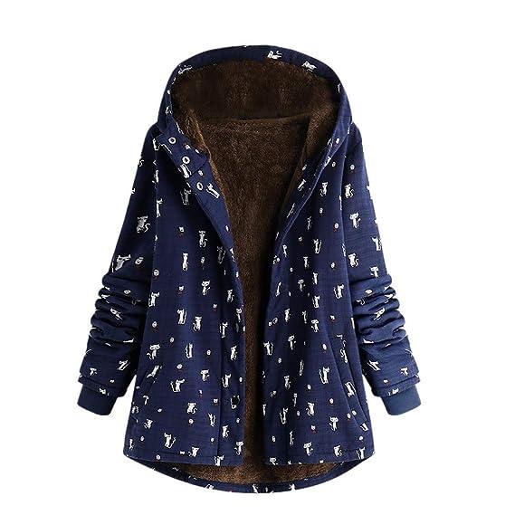 UJUNAOR Frauen Drucken Hoodie Mantel Herbst Winter Warme Dicke Nationaler Stil Baumwollmantel Jacke