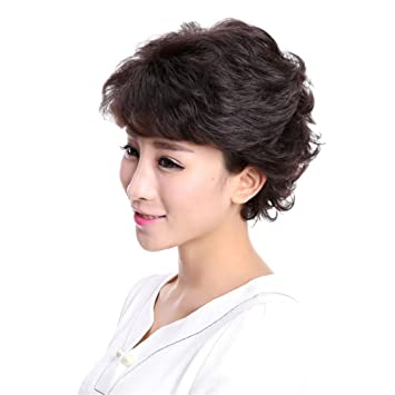 TT Mujeres fibra sintética del pelo recto peluca de pelo corto