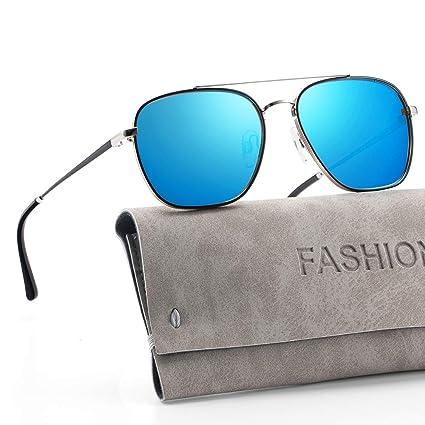 Avoalre Gafas de Sol Aviador Gafas Polarizadas Hombre Azul de Moda de  Estilo Espejo Cuadrada UV400 b9c05ff0b41f
