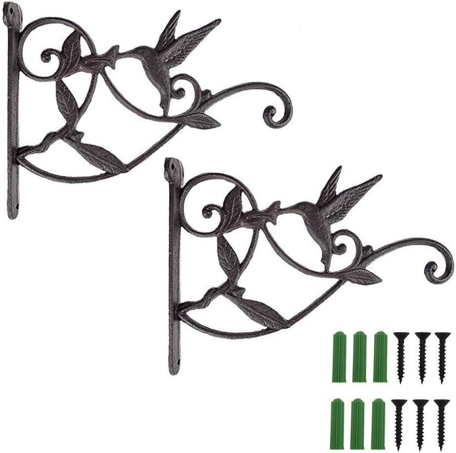 "Goldtone Iron Ornamental 10/"" Hinged Plant Hanger Hook Bracket"