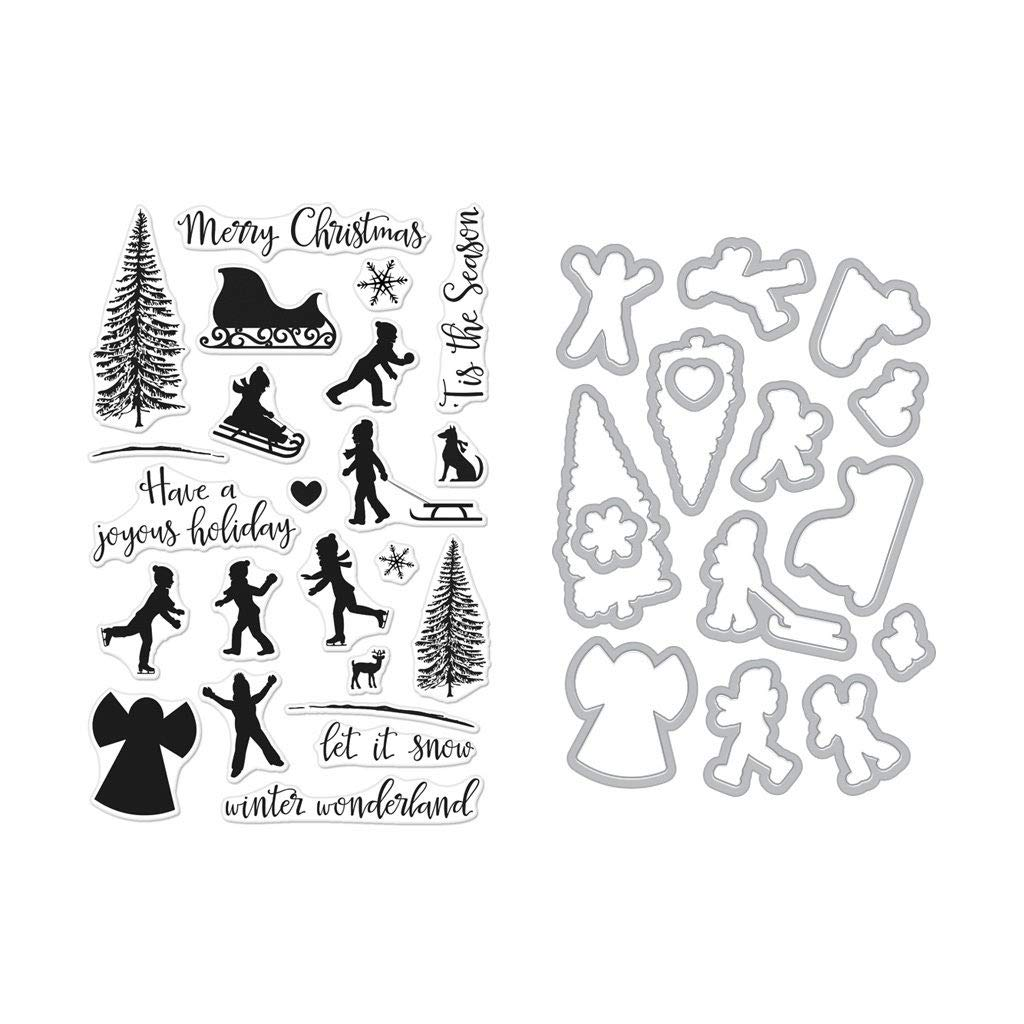 ShopForAllYou Stamping & Embossing Winter Silhouettes Clear Stamps + Coordinating Frame Cuts Dies Bundle