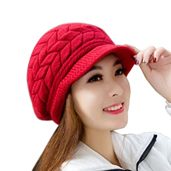 c84e4cee907d Moonuy Mode Femme Velours Casquette Plate d automne-Hiver Bonnet Keep Warm  en Laine Tricotée Couleur Pure Confortable Chaud Bonnet tricoté au Crochet  Adulte ...