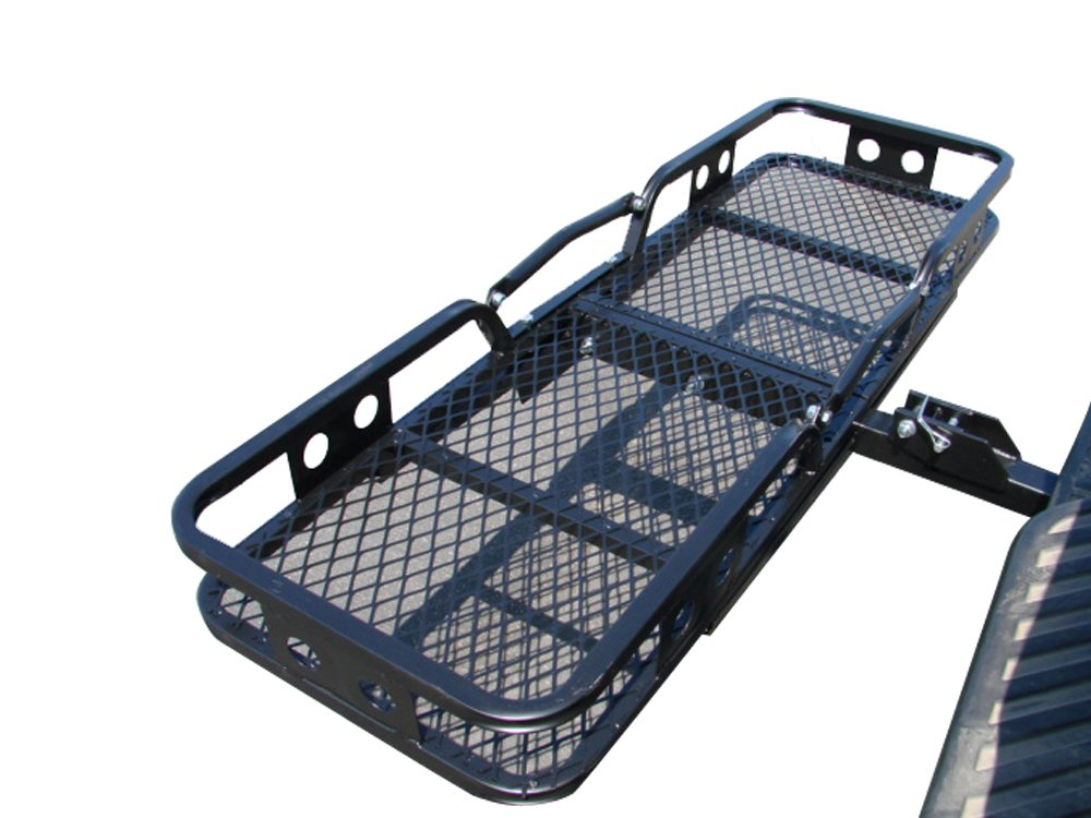 TMS SC1204-1 500-Pound 60-Inch by 20-Inch Folding Cargo Carrier Basket Hitch Truck Mount Rack by TMS