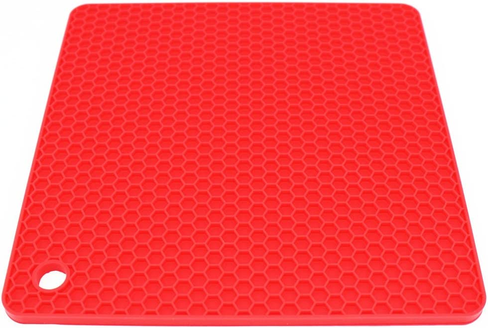 Brown Lucky Plus Square Silicone Rubber Pot Holder Trivet Mat for Hot Pan and Pot Hot Pads Counter Mat Heat Resistant Tablemat or Placemats 4 Pack,Size:7.5x7.5 Inch Color