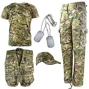 Kombat UK niños de Camuflaje del ejército de Camuflaje Explorer Kit, Infantil, Color British Terrain Pattern, tamaño 11-12 años