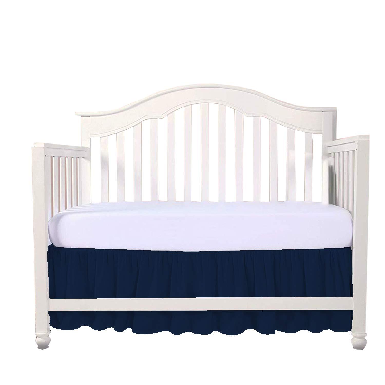 Navy Blue Crib Bed Skirt Split Corner,Dust Ruffle 100% Cotton Nursery Crib Toddler Bedding Skirt for Baby Boys or Girls, 14'' Drop by Loom Atrium