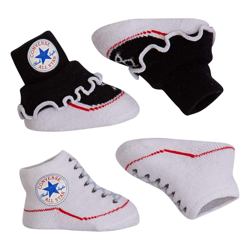 Converse Baby Bright Infant Booties (2 Pack) (Black(LC0004-B07)/White, 0-6 Months) by Converse