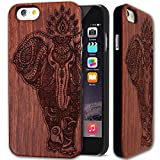 wood back iphone 6 - Wood Case for iPhone 6 iPhone 6s (4.7 inch) - Rose Wood & PC Back Cover - Premium Quality Natural Wooden Case for your Smartphone - by YUANQIAN ([Rosewood]Elephant)