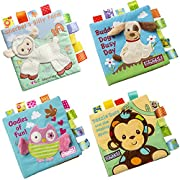 Baby Development Cloth Books, Scofieldly 1PC Non-toxic Soft Fabric Baby Cloth Books Early Education Toys Activity Crinkle Cloth Book for Toddler, Infants and Kids - Perfect for Baby Shower-Pack of 4