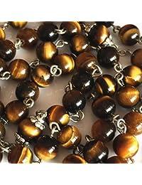 HANDMADE Tiger Eye Jade Rosary Beads Relic Cross CRUCIFIX CATHOLIC NECKLACE Box