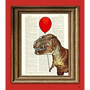 T-Rex with Balloon  Little Tony's First Carnival  Dinosaur art print beautifully upcycled dictionary page book art print