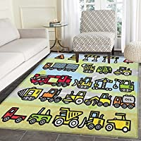 Boys Rugs for Bedroom Excavator Loader Machines Signs and Vehicles in Cartoon Style Drawing for Toddlers Circle Rugs for Living Room 4x6 Multicolor
