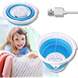 Portable Mini Washing Machine,Folding Turbo Washer Lightweight Travel Ultrasonic Turbine USB Powered Laundry Tub for Camping
