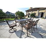 Cute DOMI Rainier Cast Aluminum Outdoor Patio Set Piece Powder Coated with x Rectangle Table Antique Bronze You also should look out for a high top