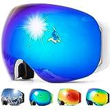 COPOZZ S2 Ski Goggles, Magnetic Snow Snowboard Goggles OTG Non-Slip UV400 Skiing Goggles