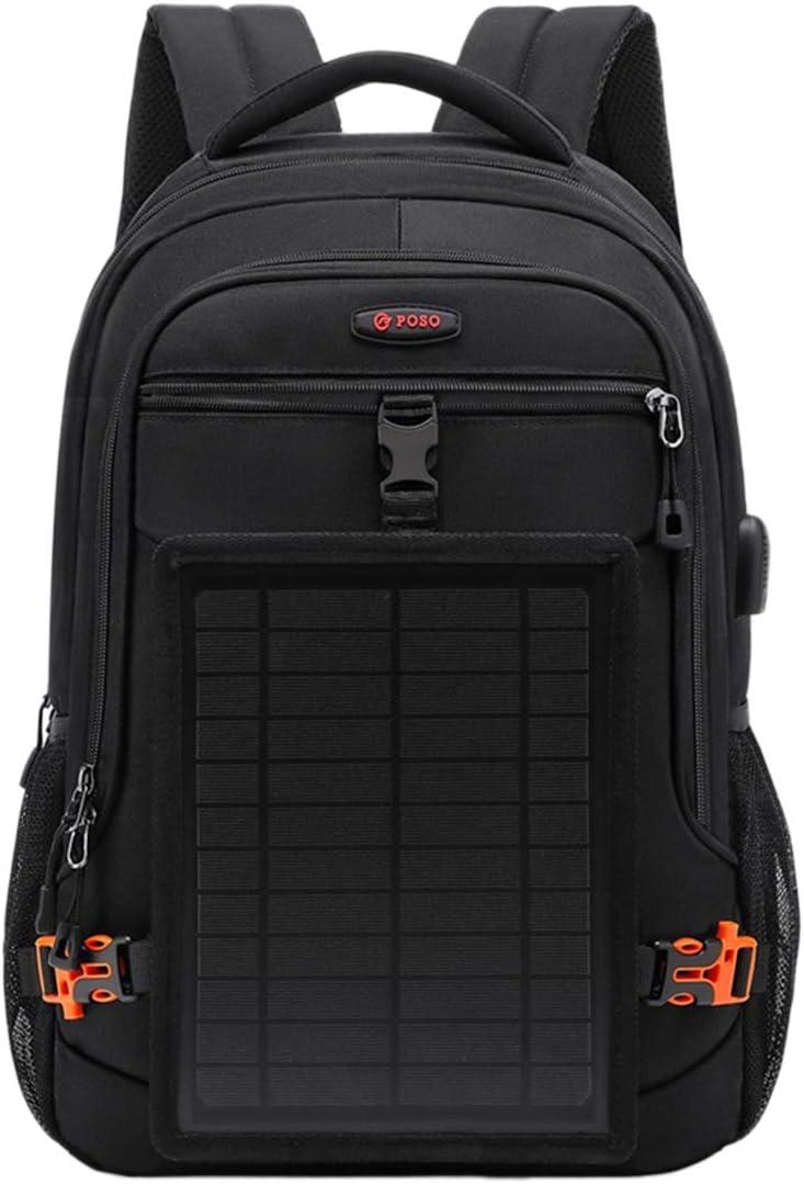 LIOOBO 屋外旅行のためのusb充電ポート付きソーラーバックパックラップトップバックパック(ブラック)