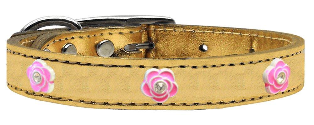Mirage Pet Products Bright Pink pink Widget Genuine Metallic Leather Dog Collar gold, Size 12