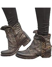 Baifeng Donna Pelle Stivali Caviglia Comodo Tacco Scarpe con Cerniera Laterale per Inverno Autunno