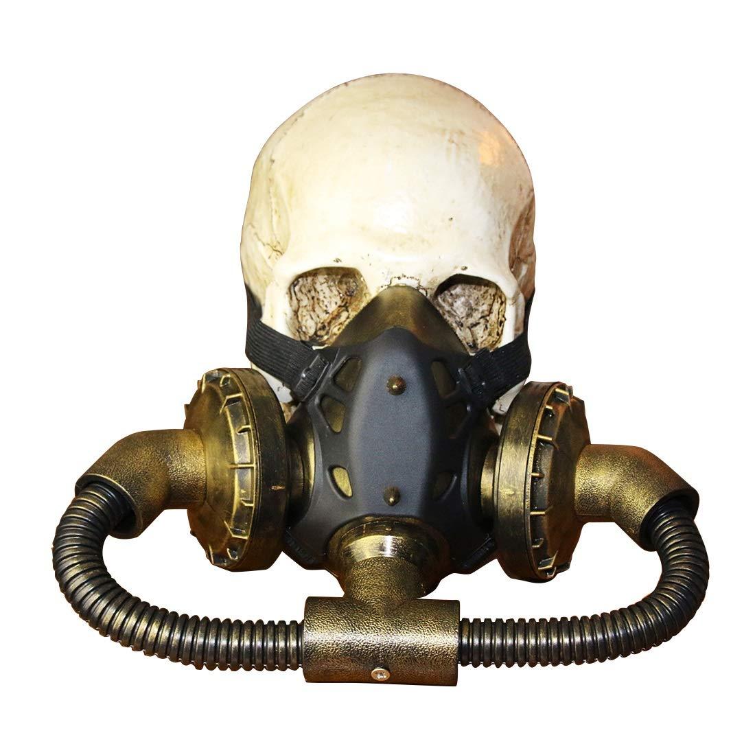 Yammucha Biohazard Steampunk Gasmaske Goggles Spikes Skeleton Krieger Death Mask Masquerade Cosplay Halloween Kostüm Requisiten (Farbe : Bronze)