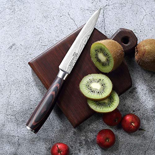Utility Knife - PAUDIN 5 inch Chef Knife German High Carbon Stainless Steel Knife, Fruit and Vegetable Cutting Chopping Carving Knives, Ergonomic Handle with Gifted Box