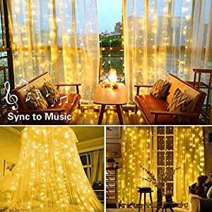 Music Sync Window Curtain Twinkle Lights 300LEDs, USB Powered Waterfall String Lights Sound Activated Waterproof Decorative Lights for Wedding, Homes, Party, Bedroom