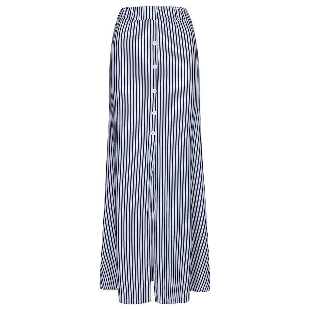 Victorian Skirts | Bustle, Walking, Edwardian Skirts Zlolia Womens Stripe Button A-Line Skirt Stretch Plain High Waist Split Skirts for Casual $6.06 AT vintagedancer.com