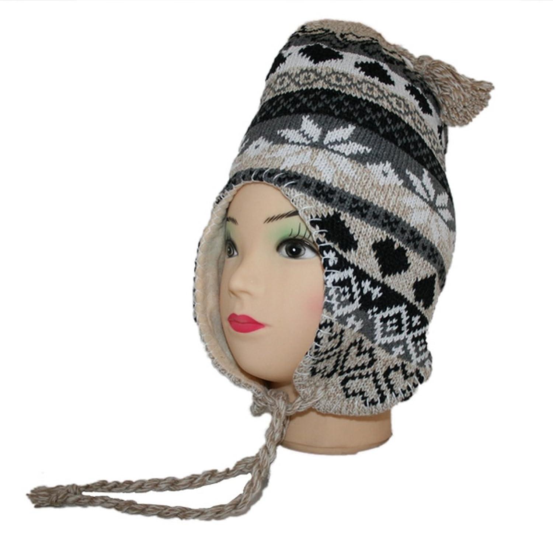 Norwegermütze Wintermütze Wollmütze Strickmütze Skimütze mit Ohrschutz und Innenfleece (013)