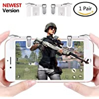 teczon Mobile Game Controller L1R1 Sharpshooter Aiming Triggers for PUBG/Fornite/ Knives Out/Rules of Survival, Fits for 4.5-6.5inch Android Phone/iPhone [1 Pair, Upgraded Metal Edition] (Transparent)
