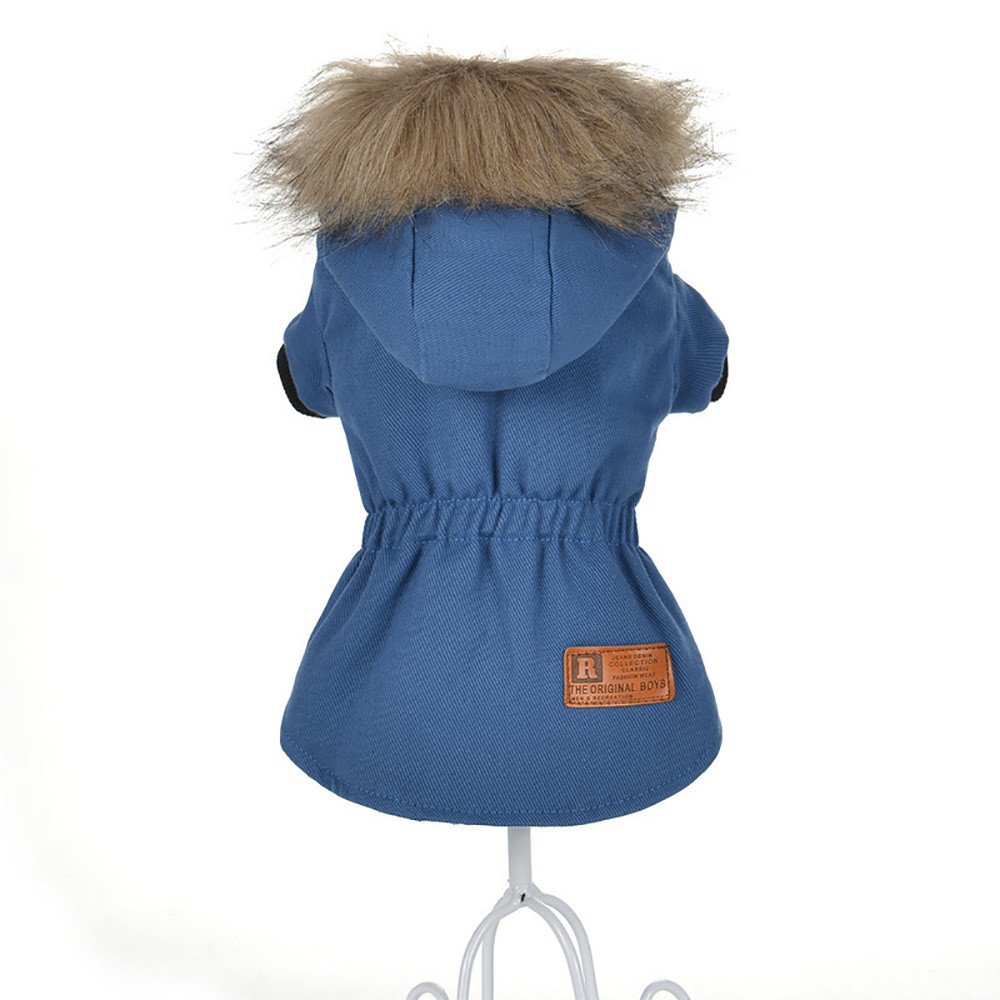 Cat Pet Small Dog Doggy Clothing Winter Warm Padded Thickening Vest Coat Dog Costumes Pet Fur Collar Clothes Sweater Dog Shirt Apparel Doggy Vest Puppy Sweatshirt Outfits Doggy Dress (Blue, XL) by succeedtop (Image #2)