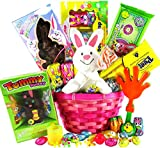 Classic Easter Gift Basket (Pink) - Premade and Shrink-Wrapped, Kids, Boys, Girls - Filled with Candy, Chocolate, Toys, and More!!