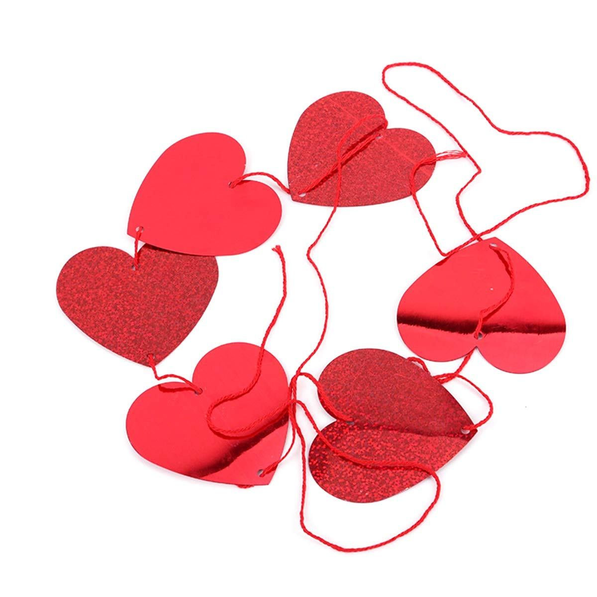 DEALPEAK 1PC Or 8PCS Heart Hanging Garland Heart Shaped Strip for Wedding Party Decoration and Valentine's Day (UnitCount : 1pc Heart String)